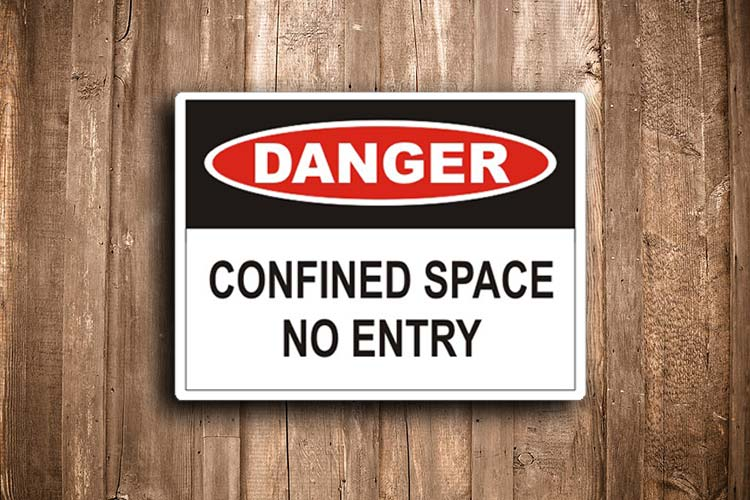 Confined Space No Entry Danger Sign I Cue Invercargill