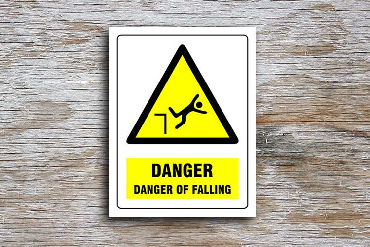 Danger Of Falling Danger Sign Yellow Triangle Hazard