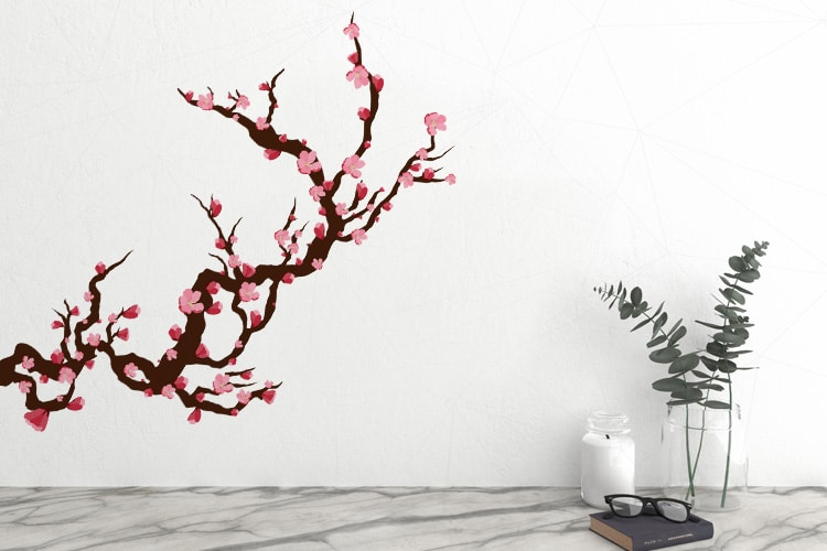 Wall Art Decals Cherry Blossom : Cherry blossom wall decal stickers graphics