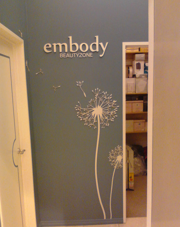 3D painted acrylic lettering and dandelion