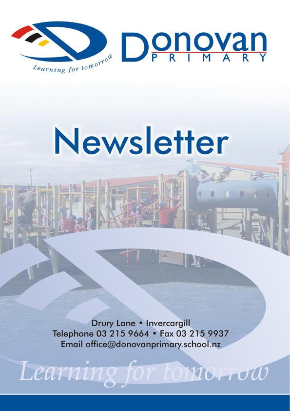 donovan school newsletter cover