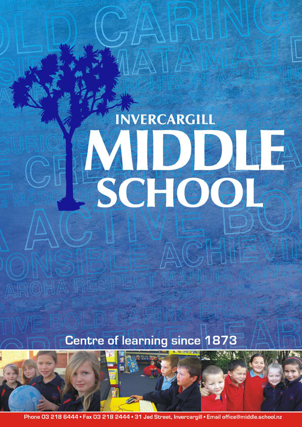 Invercargill middle school school newsletter cover