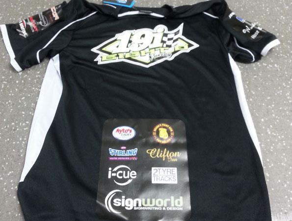 Print and apply heat set logos to t-shirt. Back