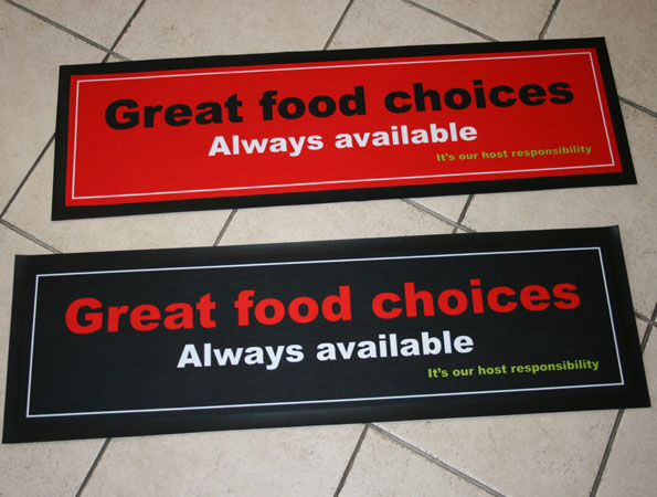 Produce printed rubber backed bar mats
