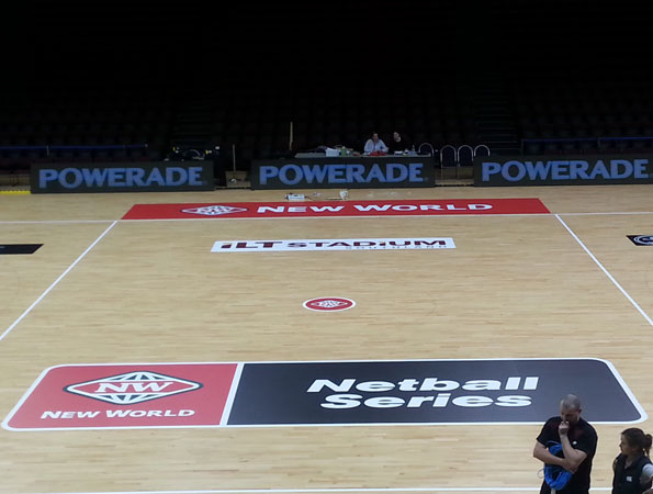 Next Install non slip graphics to netball court before NZ Ferns game