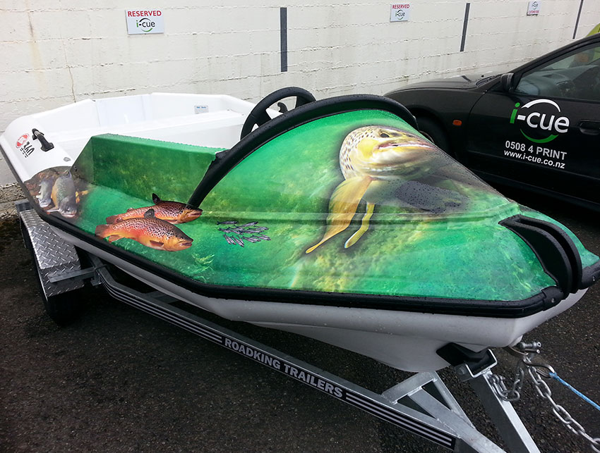Full colour digital print applied to plastic boat - Designed by I-CUE