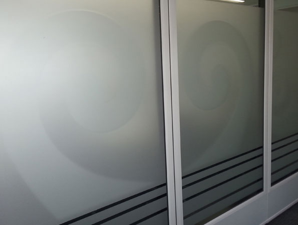 Cut and install frosted decal to office windows