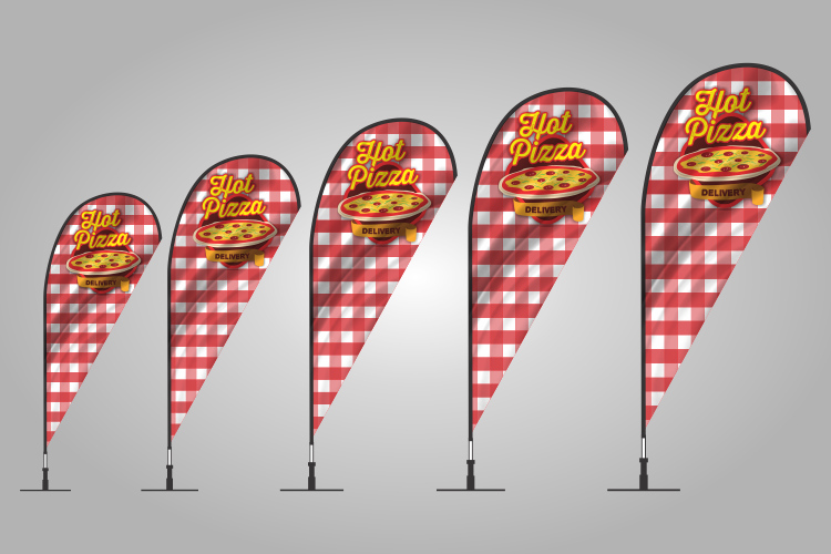 Hot Pizza teardrop flag
