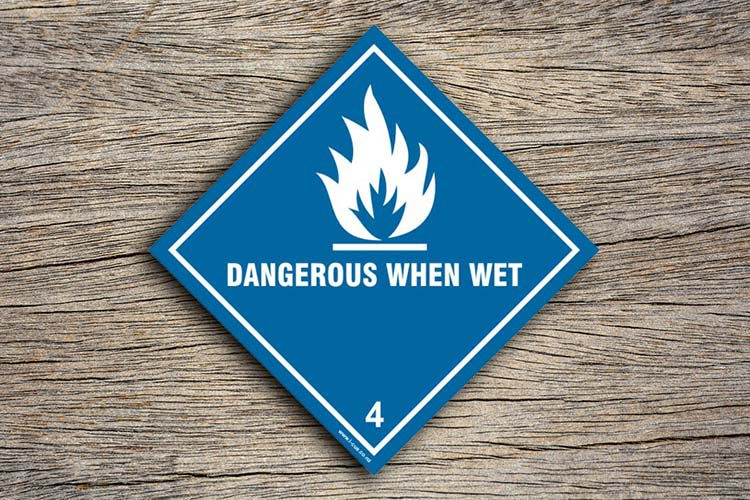 Dangerous When Wet Hazard Sign