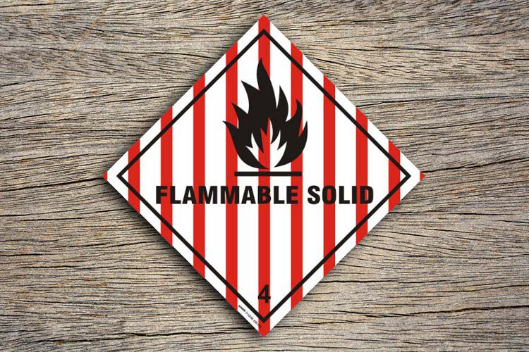 Flammable Solid Hazard Sign
