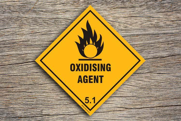 Oxidising agent hazard sign
