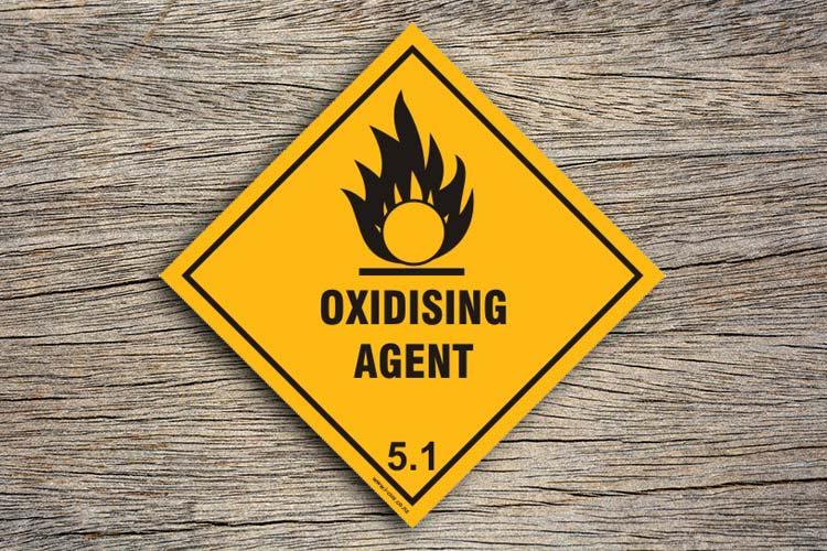 Oxidising Agent Hazard Sign Diamond Shaped Hazard Sign