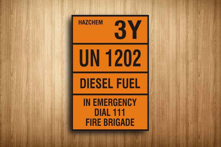 Diesel Fuel HAZCHEM Sign