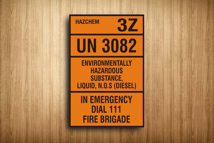 Environmentally Hazardous Substance HAZCHEM Sign