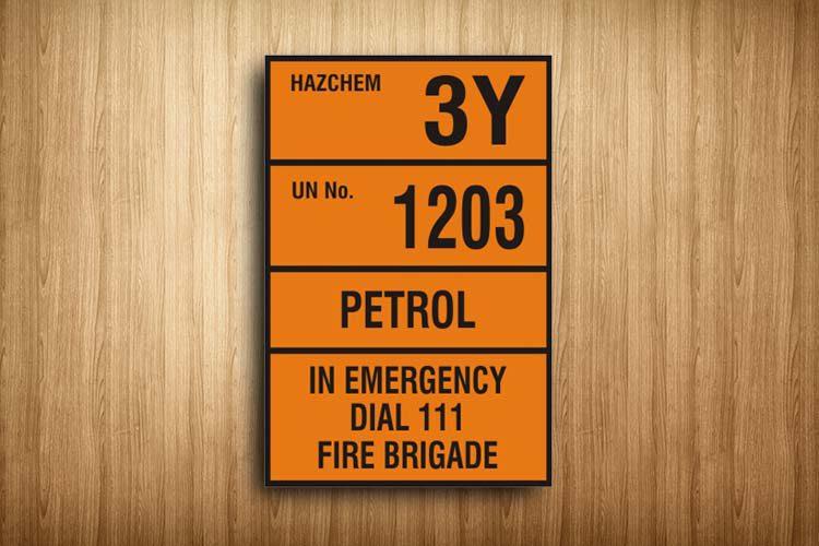 Petrol HAZCHEM Sign