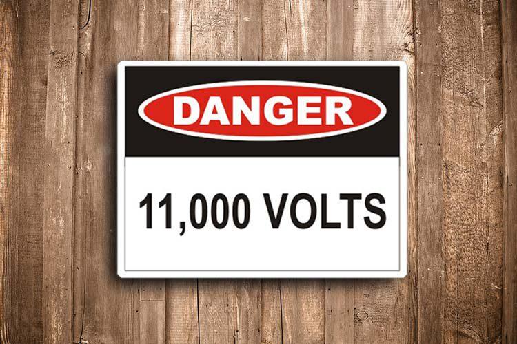 11000 Volt Danger Sign
