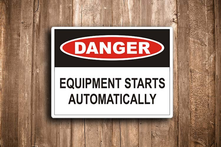 Equipment Starts Automatically Danger Sign