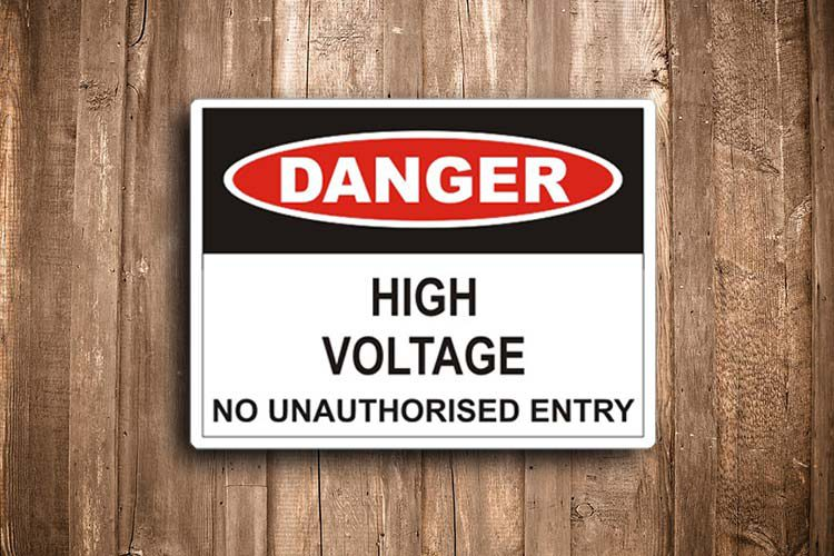 Hi Voltage No Unauthorised entry Danger Sign