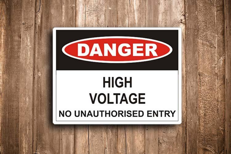 Hi Voltage No Unauthorised entry Danger Sign