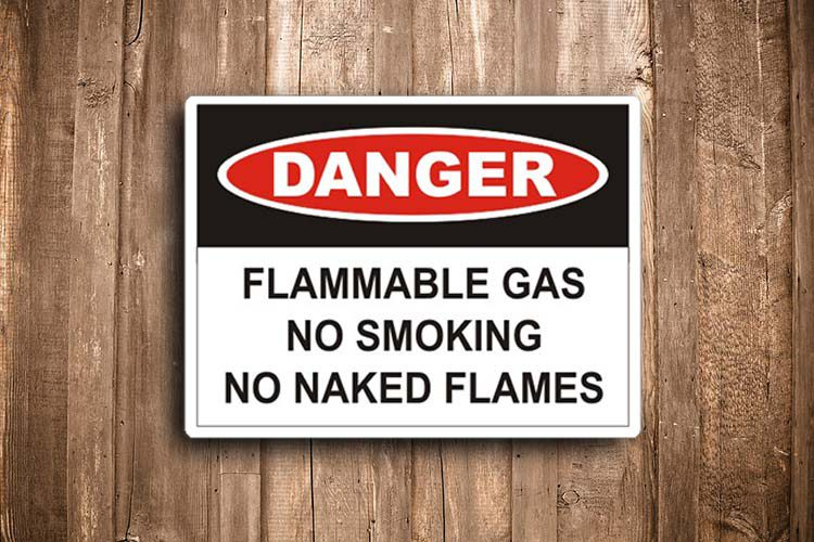 Flammable gas Danger Sign