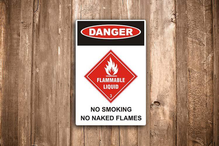 Flammable liquid Danger Sign