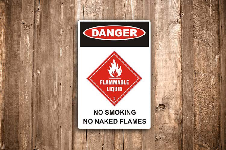 Flammable liquid Danger Sign