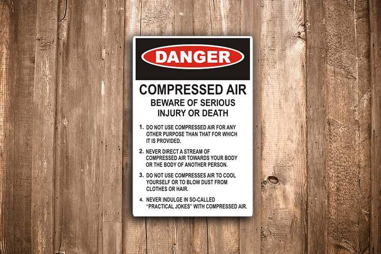 compressed air Danger Sign