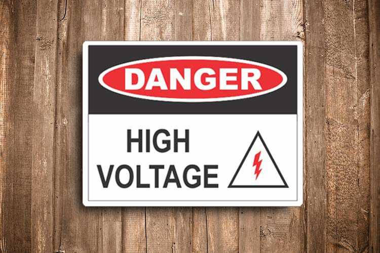 high voltage with symbol Danger Sign