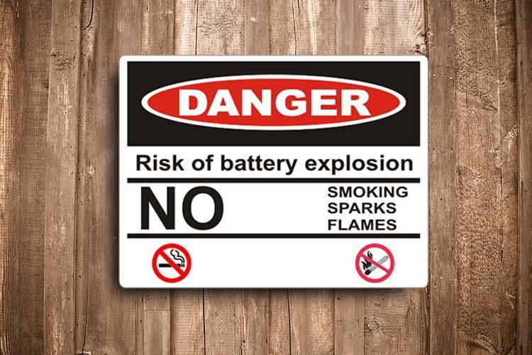 Risk of battery explosion Danger Sign