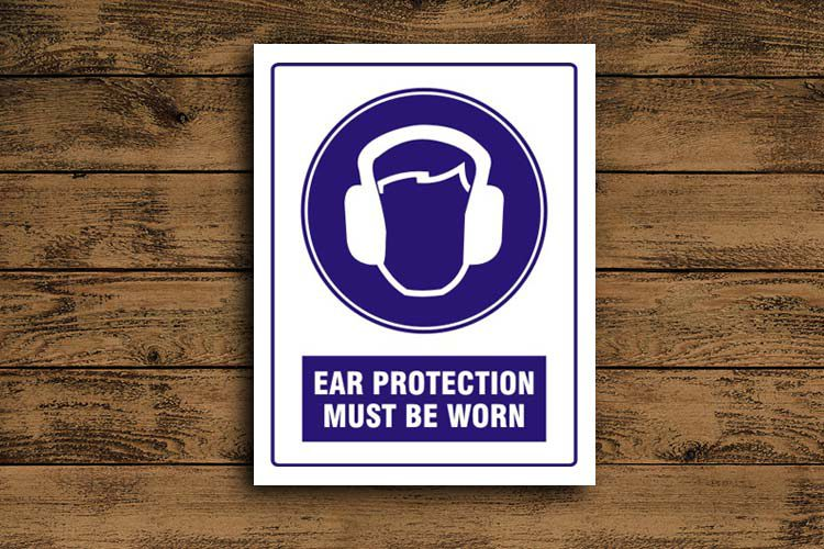 ear protection must be worn Mandatory Sign