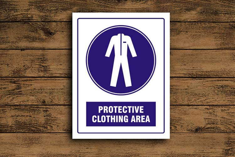 Protective Clothing Must Be Worn Blue Mandatory Sign