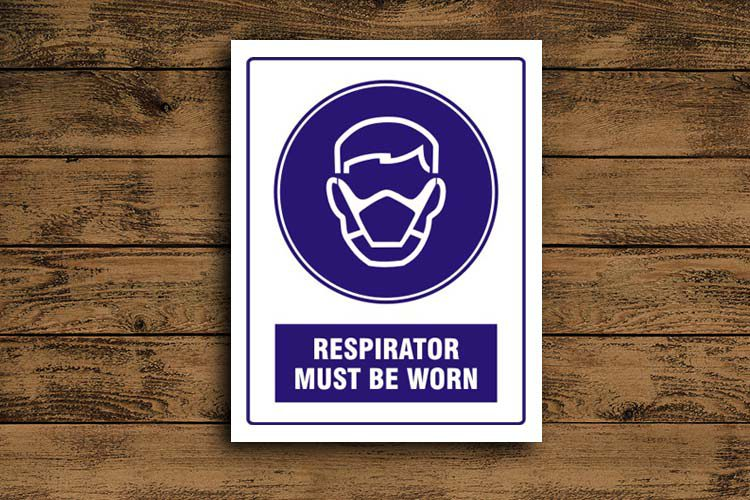 Respirator must be worn Mandatory Sign
