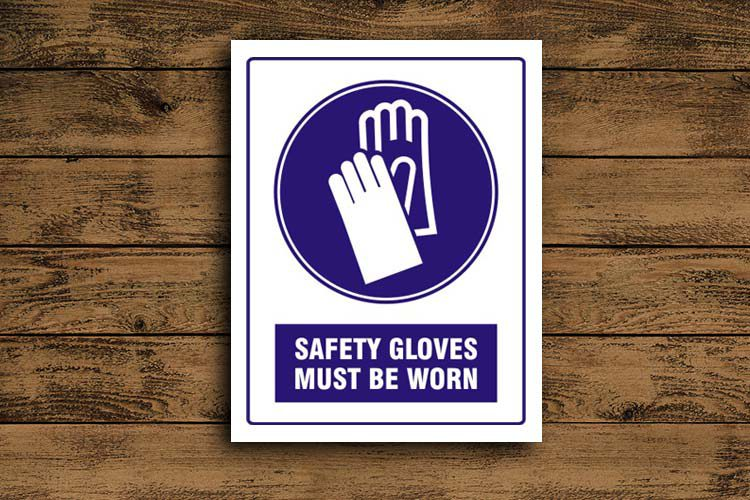 Safety gloves must be worn Mandatory Sign