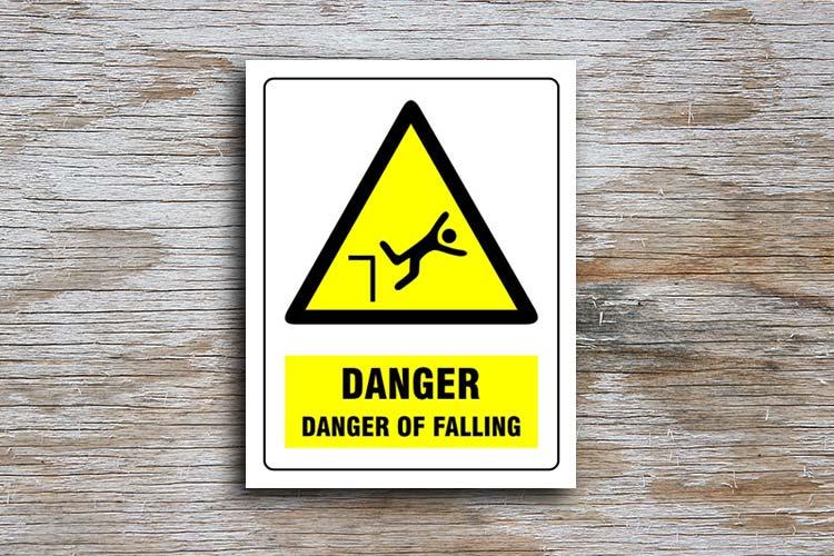 Danger Of Falling Danger Sign Yellow Triangle Hazard