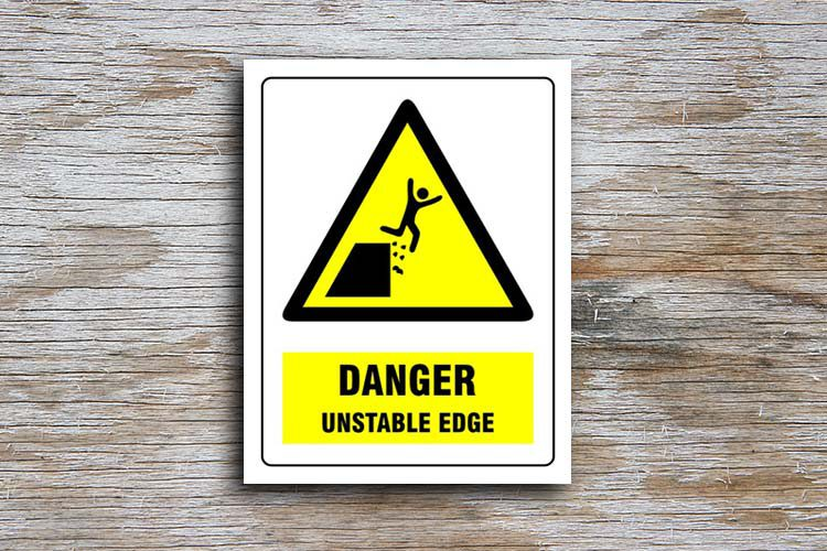 Unstable Edge Danger sign