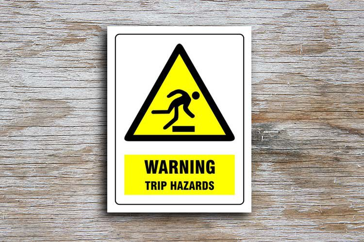Trip hazards Warning Sign