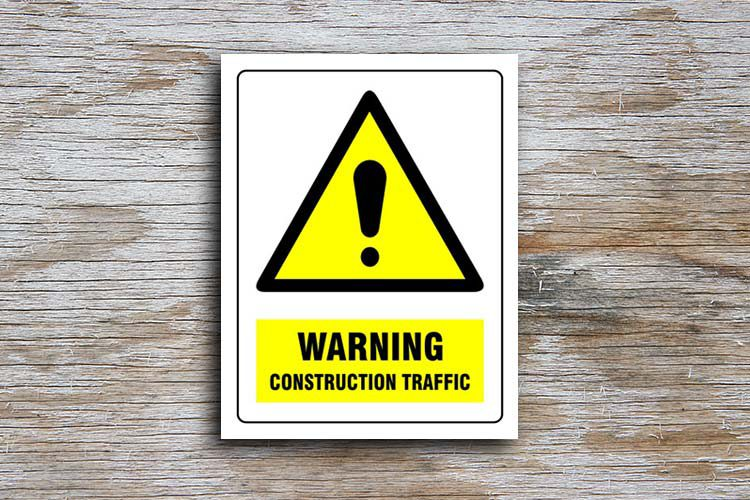 Construction Traffic Warning Sign