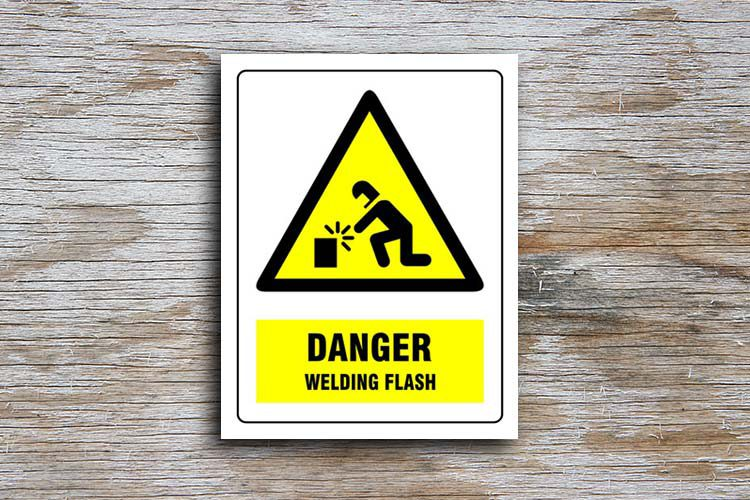 Welding Flash Danger Sign Yellow Triangle Hazard Sign I Cue