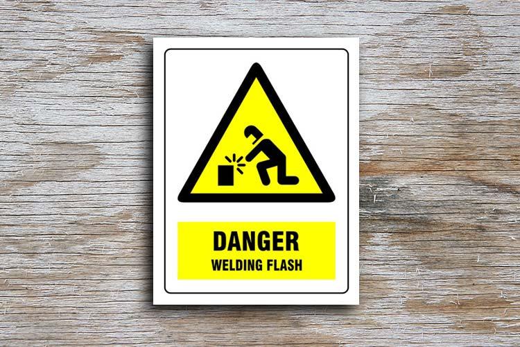 Welding Flash Danger Sign Yellow Triangle Hazard Sign