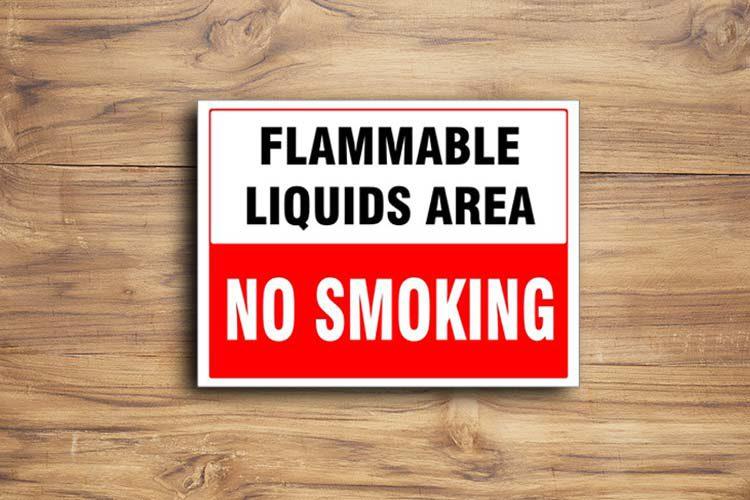 No Smoking Flammable Liquid Area Sign