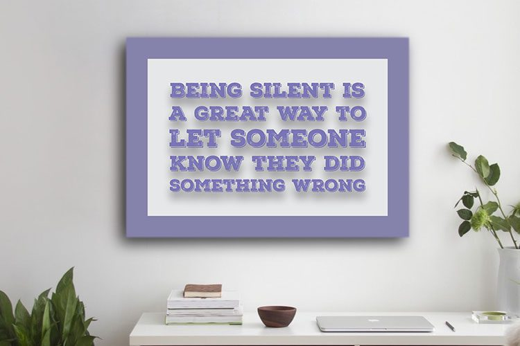 Being Silent Word Art Canvas Print Purple
