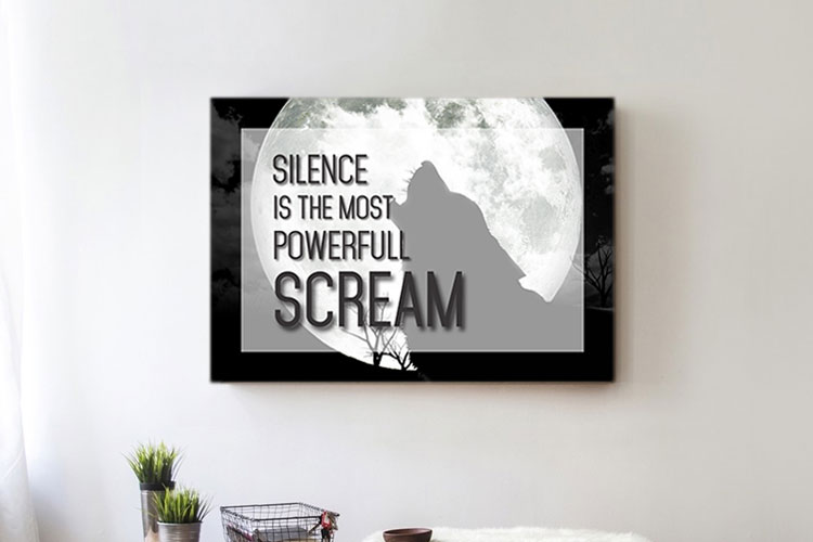 Silence Scream Word Art Canvas Print