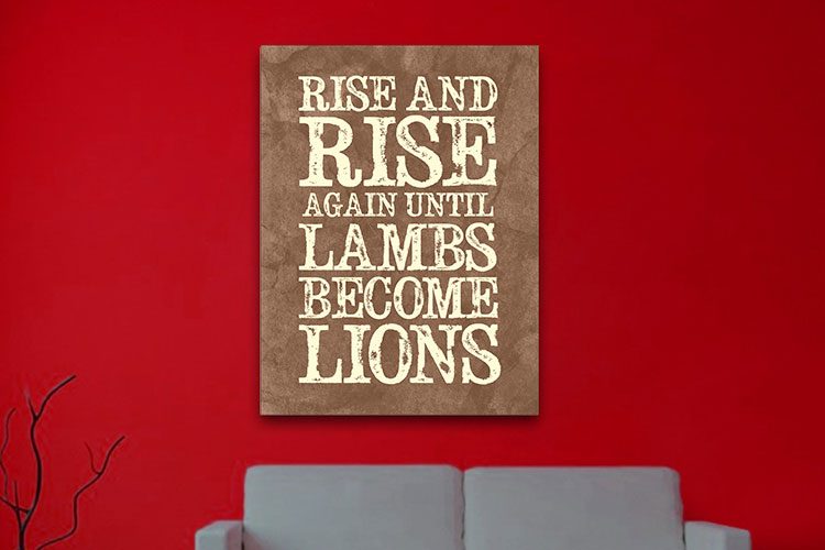 lambs Lions word art Canvas print