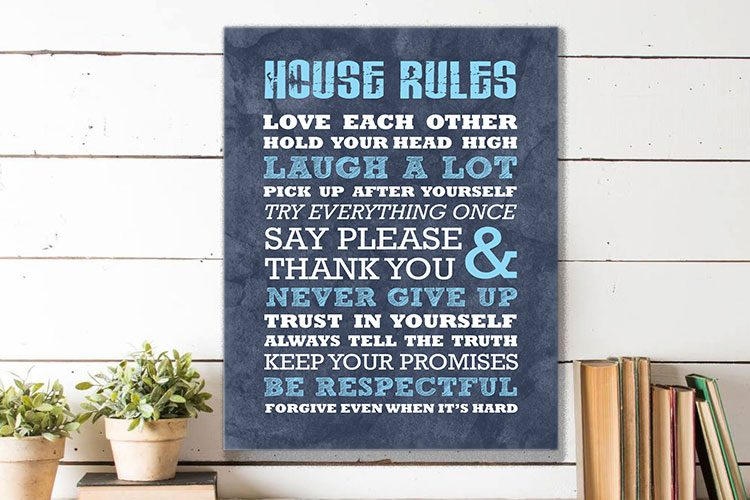 House Rules Word Art canvas print