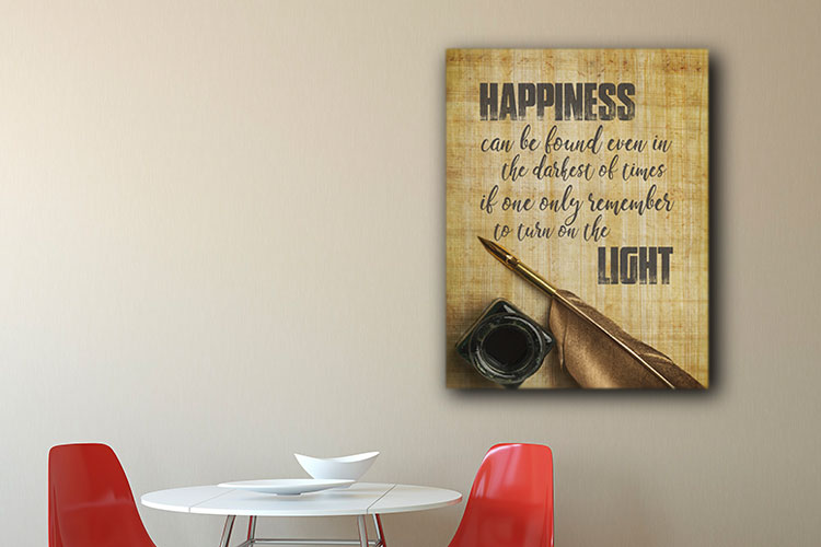 Light of Happiness Word Art Canvas Print