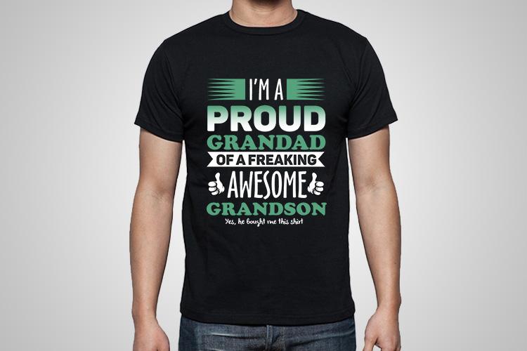 Proud Grandad Funny Printed T-Shirt