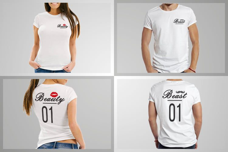 Beast Beauty 01 Couple T-Shirts