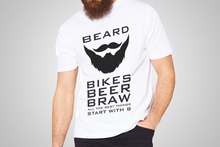 Beard Bikes Beer Braw Printed T-Shirt