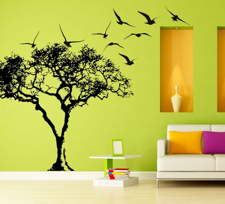 Big Tree and Birds Wall Decals