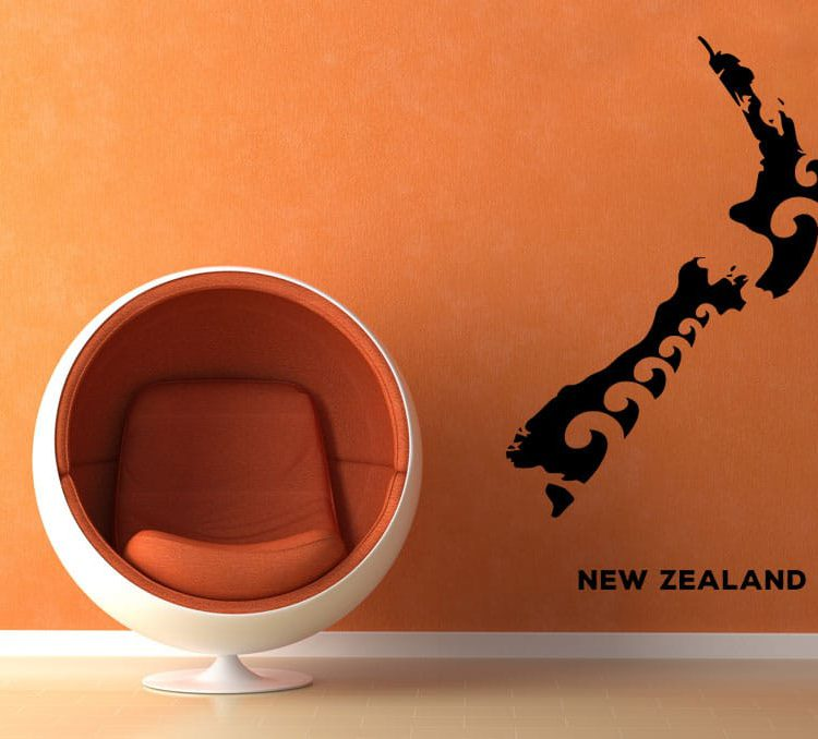Fancy NZ Map Wall Decal